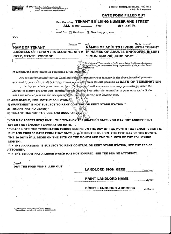 Blumberg B307 Thirty day notice I picked up from the court house